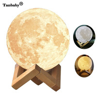 Tanbaby USB Rechargeable 3D Printing Moon Night Light Warm And White 2 Color Change Dimmable Table