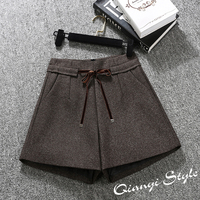 2018 Spring Women Shorts HIgh Waist A Line Wide Leg Woolen Shorts Boots Shorts