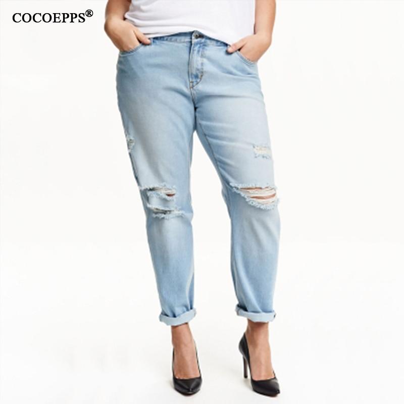 2017 Vendita Calda 5xl 6xl Jeans Jeans Con I Jeans A Vita Alta Alta Foro Plus Size Donna Jeans Lavati Casuali Scarni Pantaloni Della Matita 4xl Saldi Estivi Speciali