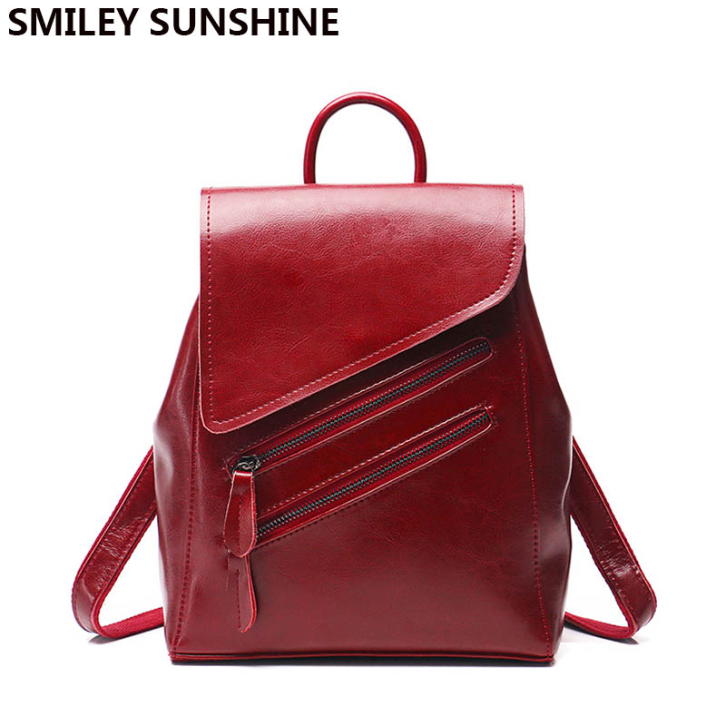 SMILEY SUNSHINE women backpack female genuine leather backpacks for girls teenagers schoolbag small backpack ladies shoulder
