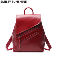 SMILEY SUNSHINE women backpack female genuine leather backpacks for girls teenagers schoolbag small backpack ladies shoulder bag