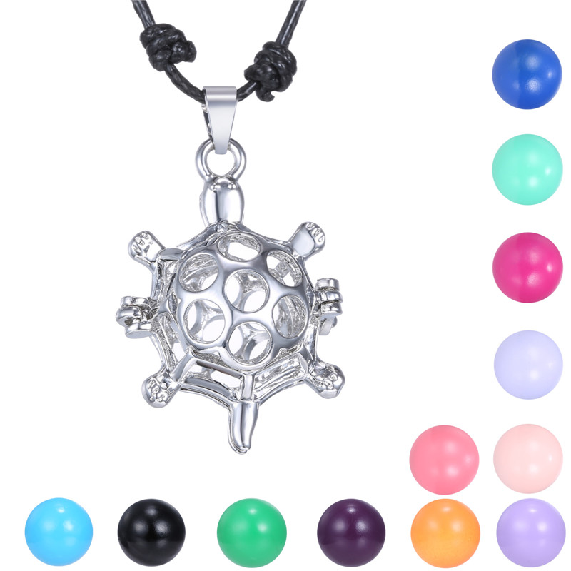 New Hollow Out Turtle Locket Pendant Mexican Bola Belly Sounds Pendant Harmony Bola Ball Pendants Adjustable Necklace