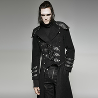 Punk Removable Military Uniform Armour Rivet Jacket Autumn Winter Men Woolen Long Coat Casual Black Overcoats