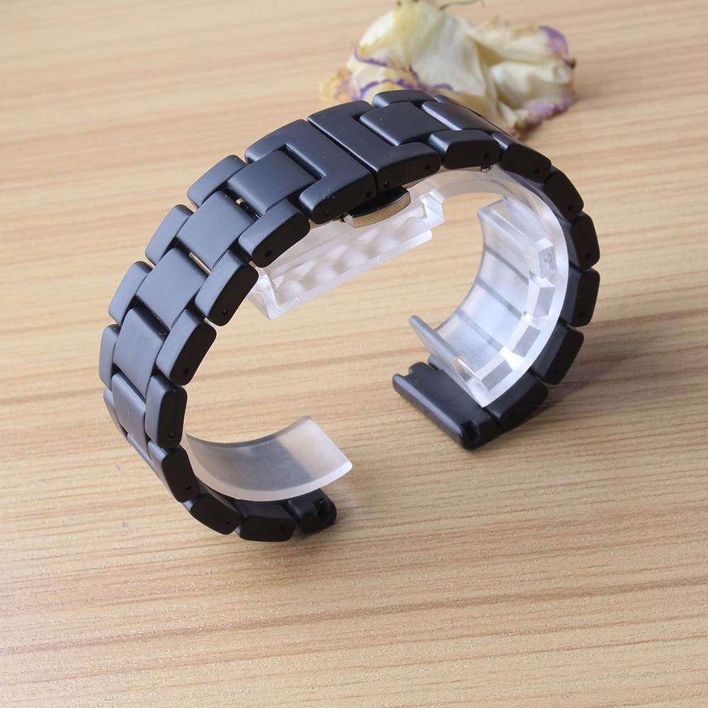 Watchbands For Sport Watches Fit Gear S2 GEAR S3 S4 new Ceramic Black matte polished Watch band strap bracelet metal buckle 20mm смарт часы samsung gear s2 black