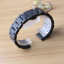 Watchbands belts Fit GEAR S2 S3 S4 new Ceramic Black matte polished Watch band strap bracelet metal buckle 20mm 22MM never fade стоимость