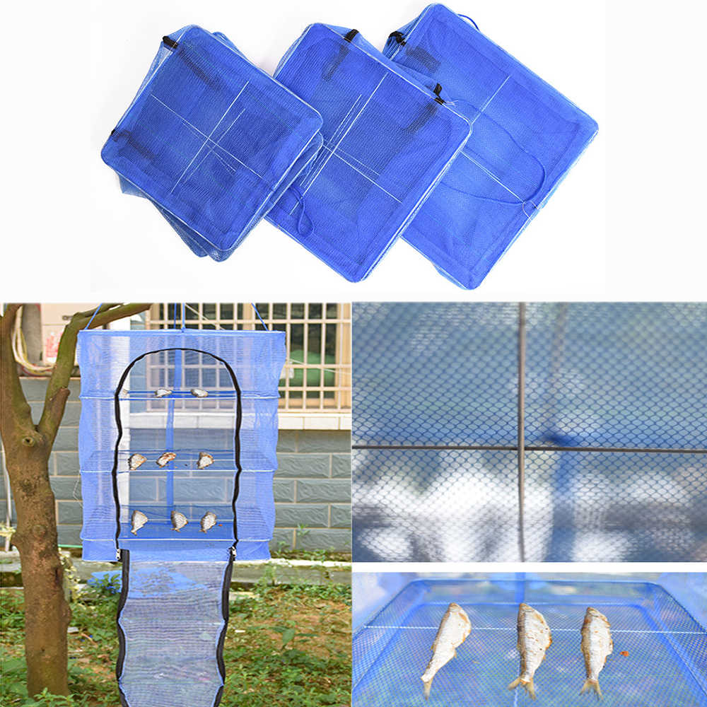 4 Layers 50*50*65cm Drying Rack Folding Fish Small Mesh Net Hanging Net Fishing Net Foldable Hanging Net Fish Vegetable