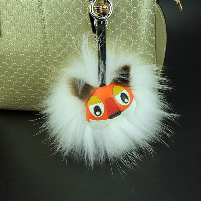 2017 new trinket naturl fur pompom keychain bunny keychains on bag rabbit fur Keychain fur pom pom charms  for bags
