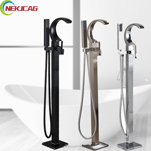 Promotion Floor Stand Faucet Single Lever Bathtub Faucet Mixer Tap With  Handheld Shower Free Standing Tube