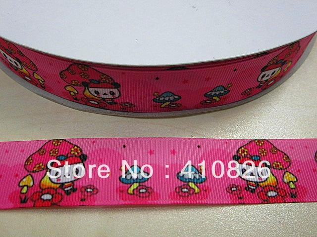 Q&N ribbon wholesale/OEM 1inch pink mushroom panda printed grosgrain ribbon 50yds/roll free shipping