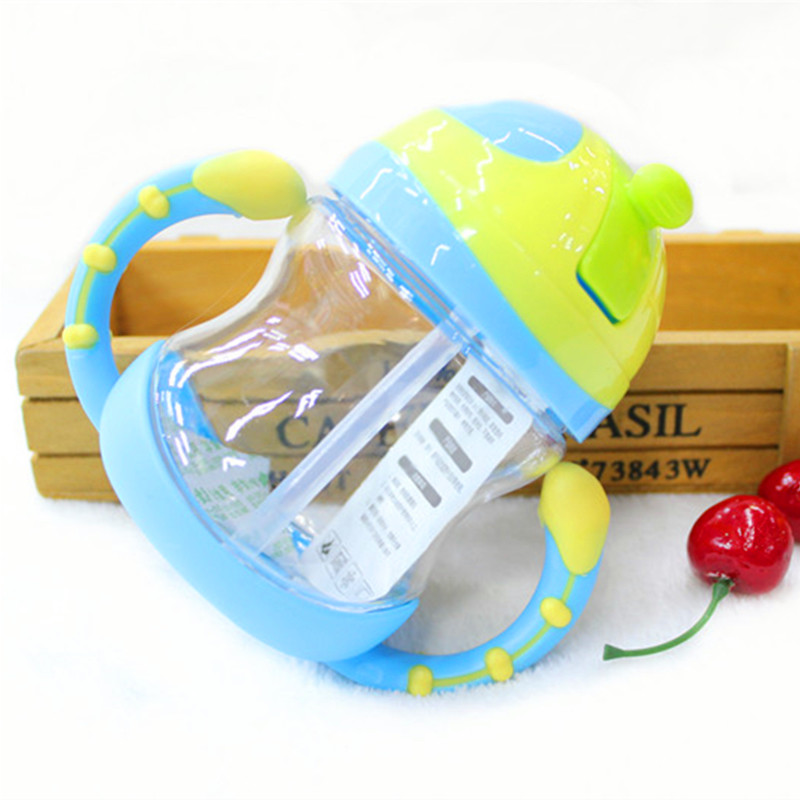 220ml Cute Baby Cup Kids Children Learn Feeding Drinking Water Straw Handle Bottle Mamadeira Sippy Training Cup Baby Feeding Cup