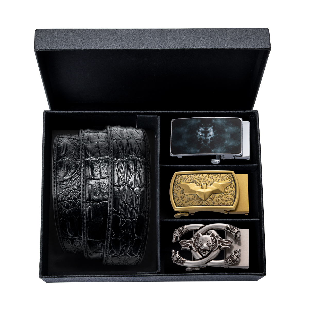 Luxury Gift Box Packing Male Genuine Leather Belt Men Automatic Buckle Belt Black Cowbody Jeans Leather Waistband Strap 130cm