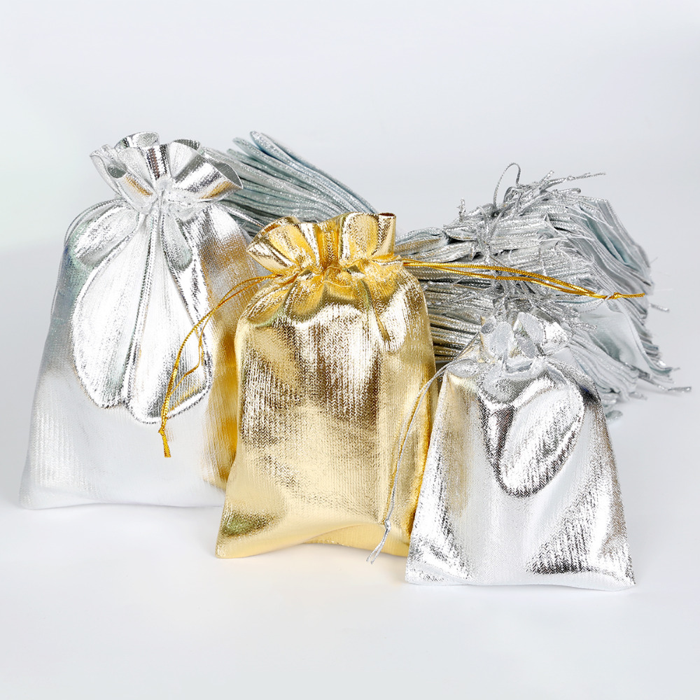 10Pcs/lot 4 Size Gold Silver Drawstring Organza Jewelry Organizer Pouch Satin Christmas Wedding Gift Bag Jewelry Bag