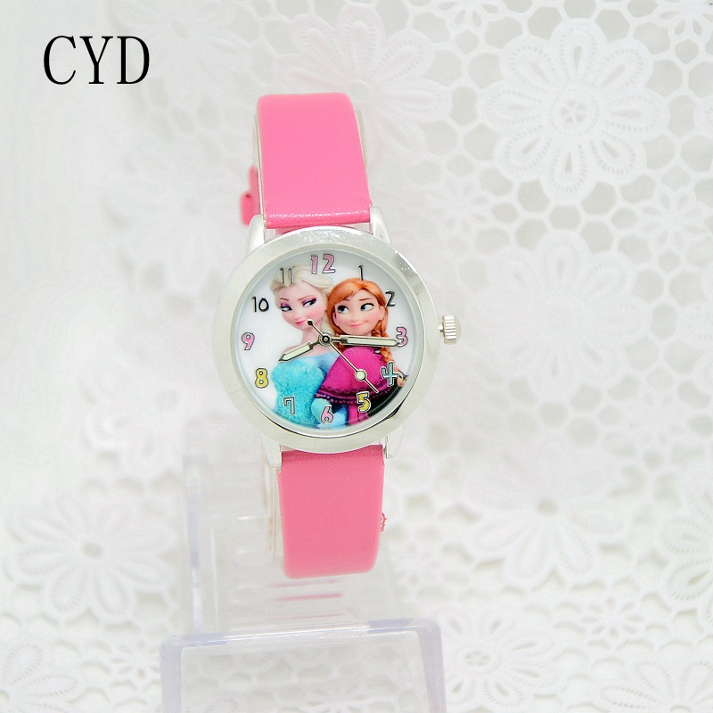 2016 Presale New Cartoon Children Watch Princess Elsa Anna Watches Fashion Girl Kids Student Cute Leather quartz Wrist Watches 2016 new relojes cartoon children watch princess elsa anna watches fashion kids cute relogio leather quartz wristwatch girl gift