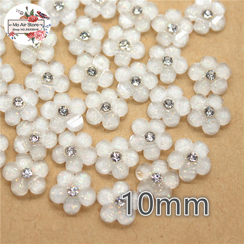 50pcs 10mm White Rhinestone Five-petaled Flowers Resin Flatback Cabochon DIY Jewelry/phone Decoration