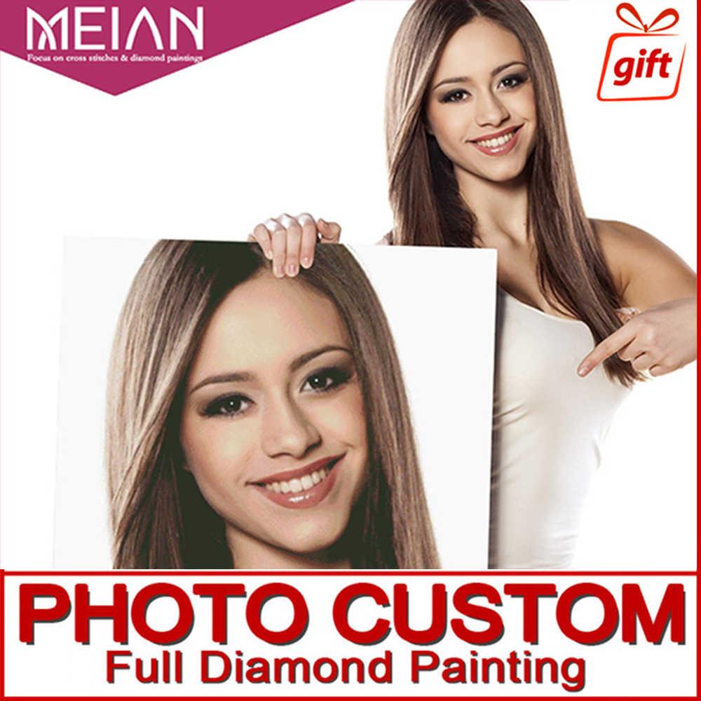 Meian, фото на заказ, Алмазный Вышивка, DIY, 5D, частный настраиваемый, Алмазный живопись, вышивка крестом, 3D, Алмазная мозаика, украшения, Новогодние товары