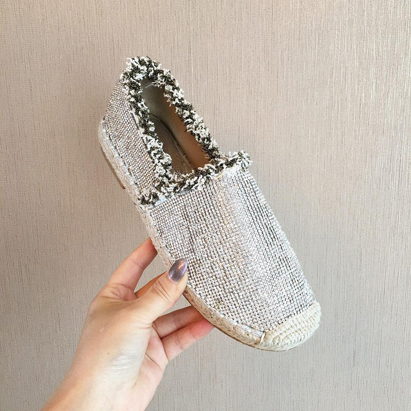 2019 New spring Bling women espadrilles cane hemp straw fisherman flat heels shoes woman loafers lazy