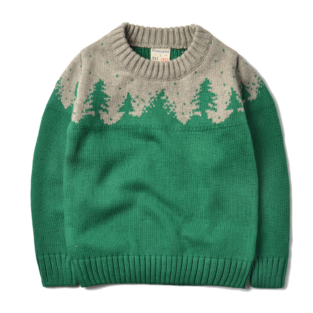 YY-07849 Autumn Winter Trees Pattern Kids Sweater Boys Girls Sweater Kids Knitted Pullovers 2-8T Warm Sweater Outerwear autumn winter female long wool knitted dresses turtleneck slim lady accept waist package hip pullovers sweater dress for women