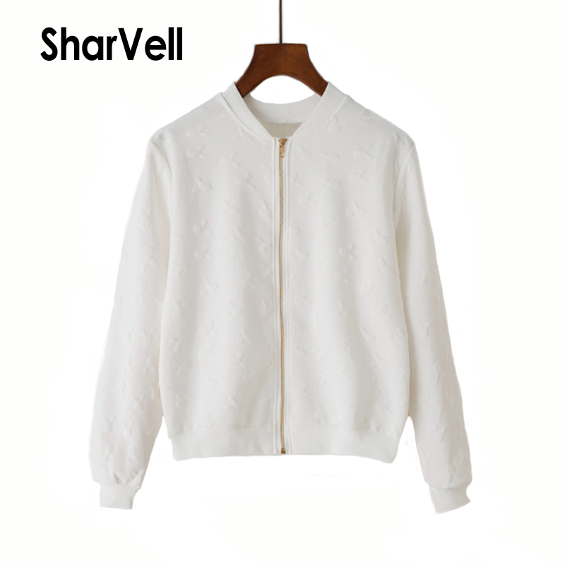 SharVell Women Spring   jacket   Zipper Front Geometric long sleeve   Basic     Jackets   Solid Casual bomb outwear feminine Loose Coat