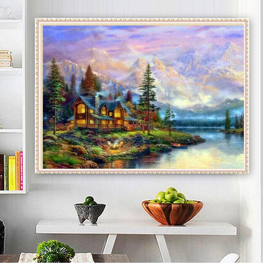 UzeQu Diamond Embroidery Cottage Scenery 5D DIY Diamond Painting - Արվեստ, արհեստ և կարի - Լուսանկար 2
