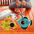 Suaves educativos Montessori juguetes de madera para niños de juguete de pesca