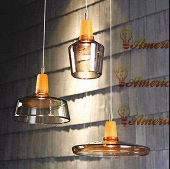 Retro glass chandelier lamp hotel restaurant bar living room glass wood single head light, color: transparent / amber, AC220V chinese style wood chandelier living room restaurant hotel aisle hotel retro lighting light e27 1 3 heads lamps za323440