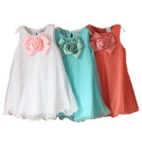 Dětské oděvy 2019 letní nová truhla trojrozměrné květiny vesty dívky šaty2 3 4 5 6 7 8 let staré oblečení pro holčičky