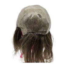 Peluca de pelo con tapa completa para mujer, peluca de pelo con base de piel personalizada para hombre