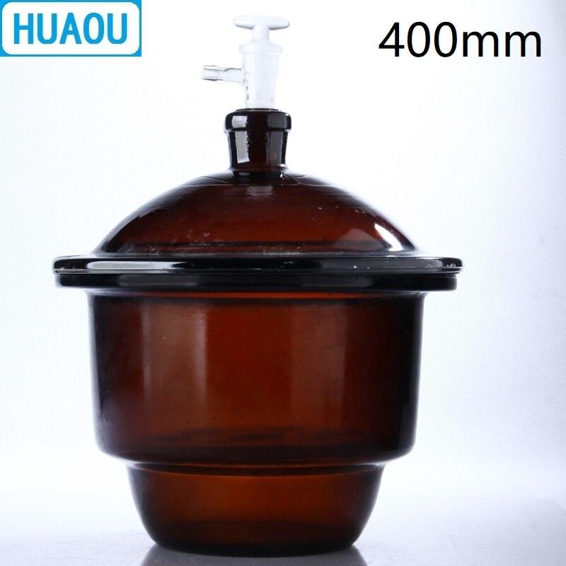 HUAOU 400 мм вакуум эксикатор с землей в кран фарфоровая тарелка янтарь коричневый Стекло лабораторное оборудование для сушки