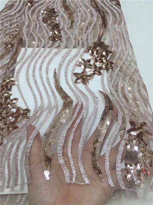 Spedizione gratuita Africa merletto Svizzero del filato tessuto di alta qualità bianco paillettes moda wedding 5 yards tessuti di pizzo Francese verde 2018