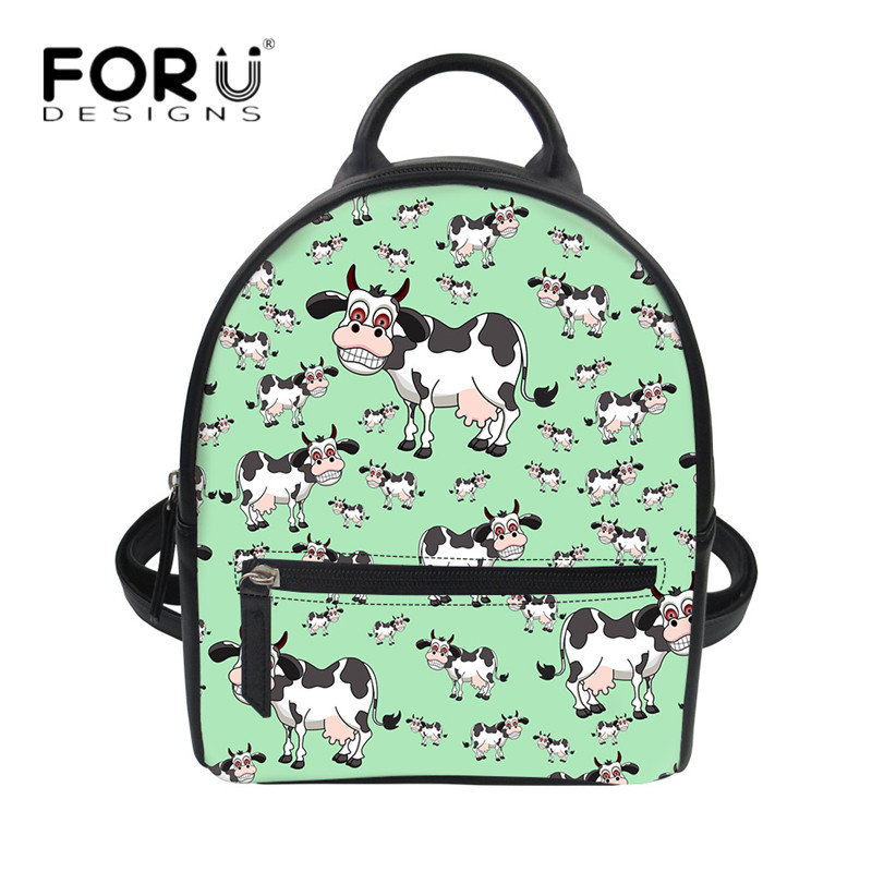 7d978a81db FORUDESIGNS Cute Cartoon Cows Cat Print Students Small Backpack Daypack  Fashion PU Leather String Shoulder Rucksack Female Bolsa-in Backpacks from  Luggage ...
