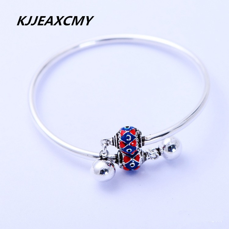 KJJEAXCMY S925 Sterling Silver smooth with bells, small exquisite cross open BraceletKJJEAXCMY S925 Sterling Silver smooth with bells, small exquisite cross open Bracelet
