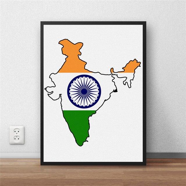 Moderne Beschichtet Poster Bibliothek Land Karte Indian Flag Weltkarte  Dekoration Malerei Cafe Restaurant Wandkunst Aufkleber Noframe