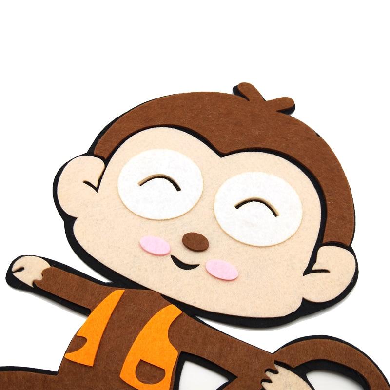 WISHMETYOU 31CM Cartoon Monkey Non Woven Felting Free Cutting Felts Diy Kindergarten Decoration Kids Home Room Crafts Findings in Felt from Home Garden