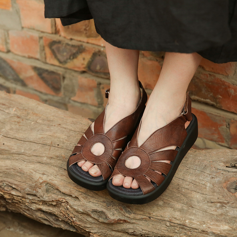 Genuine Leather Sandal For Women Cow Leather Casual Womens Wedges Shoes 4 Cm High Heels Lady Sandals Gladiator Handmade 876-19 plus size women s sandals wedges platform leather sandal for women gladiator sandals summer shoes woman high heels casual shoes