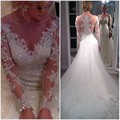 Long Sleeve Lace Wedding Dresses Tulle Sequin A Line Country Western Wedding Gowns Weding Bridal Bride Dresses Weddingdress