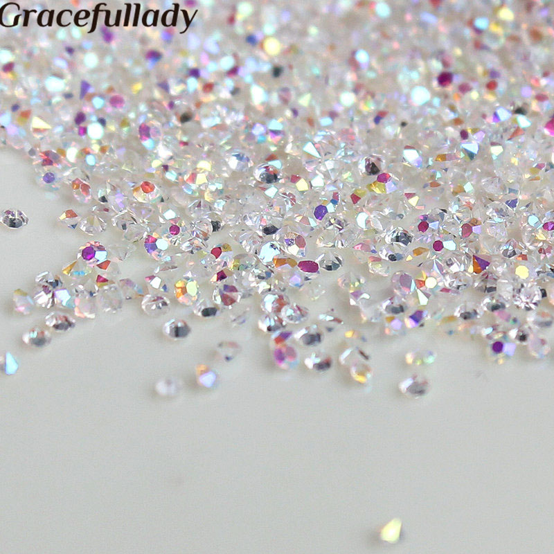 1440 pcs / lot 1.3mm Multicolor Nail Art Permata Mikro Nail Rhinestones Mini Nail Art Dekorasi Manicure Aksesoris