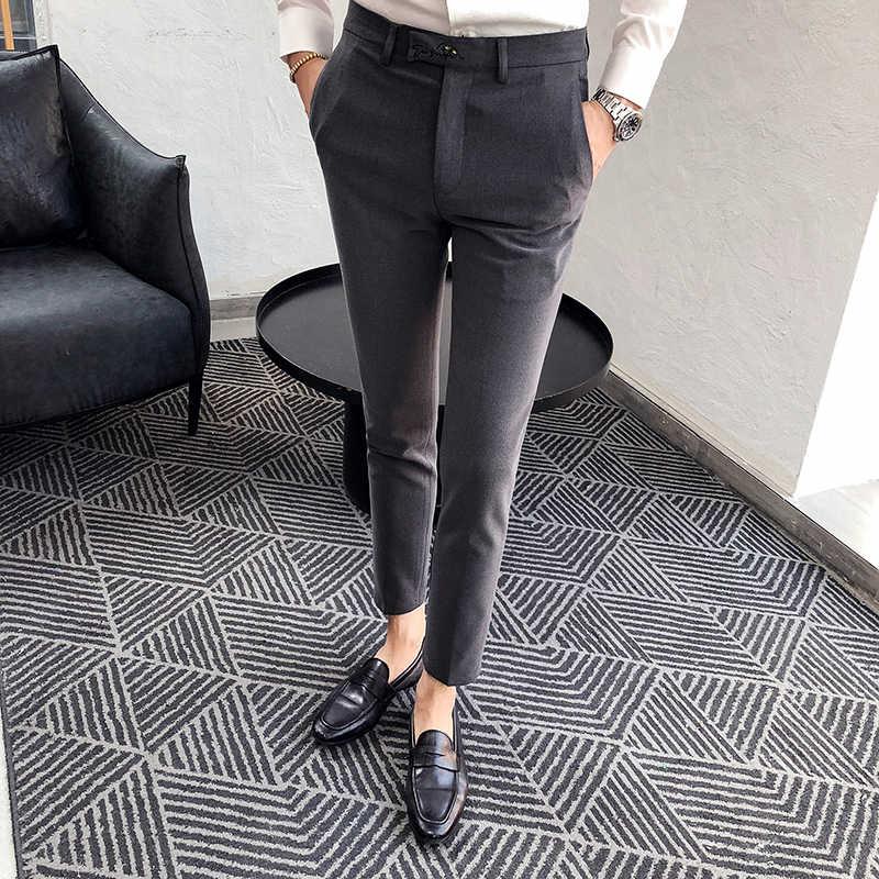 Pantalones de traje de estilo británico a la moda para hombres 2019 otoño invierno nuevo vestido pantalones de hombre Slim Fit negocios Formal desgaste pantalones de boda hombre