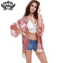 Blusas Femininas Mujeres de La Vendimia Impresión de la Flor Blusa Kimono Floja de La Gasa Camiseta de la Rebeca 2016 Del Verano Flojo Ocasional Superior Femenina Abrigo