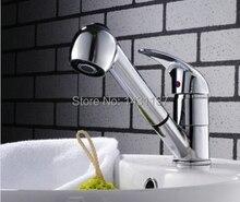 Бесплатная доставка медные Chrome горячей и холодной кухонный кран водопроводный кран с вытащить душем ванной бассейна кран