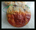 New Design Natural Stone Carved Lion Multi-Color Picasso Jasper Necklace Pendant,50*8mm 29.9g pendant animal carving beads