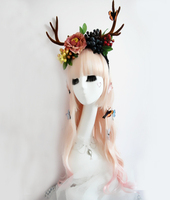 Hot Lolita Simulated Antlers Reindeer Elk Hair Headband With Flowers Butterfly Decors Cosplay Photography Props Hair Accessories
