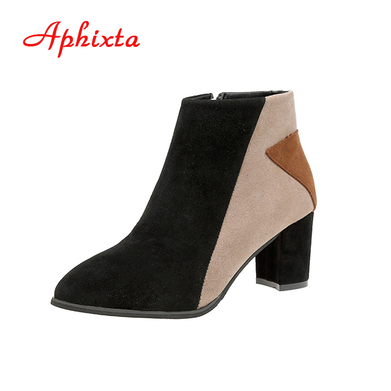 Aphixta Women Ankle Boots Elastic High Square Thin Heels Pointed Toe Zippers Mixed Colors Genuine Leather Lady Woman Boot Shoes yougolun women ankle boots suede leather mid thin heels 6cm fashion mixed colors pointed toe shoes woman wine red black boots