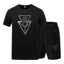 L-9XL Sportsuits Set Men 2019 Brand Fitness Suits Summer 2PC Top Short Mens Fashion T-shirt Shorts Letter Print Tracksuit
