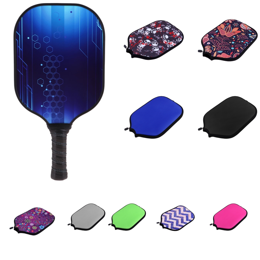Premium Neoprene Pickleball Paddle / Racket Cover Zipper Protective Case Storage Holder Sleeve Bag Accessories - Various Colors