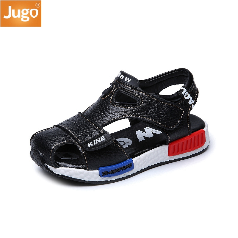 2017 New Summer cowhide male Children s sandals genuine leather shoes Kids beach shoes Boys fashion