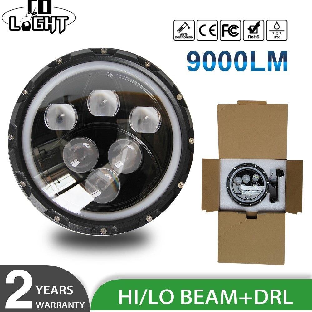 CO LIGHT For Jeep Wrangler 7 Led Headlight Angel Eyes 60W 30W Hi Lo Beam Halo