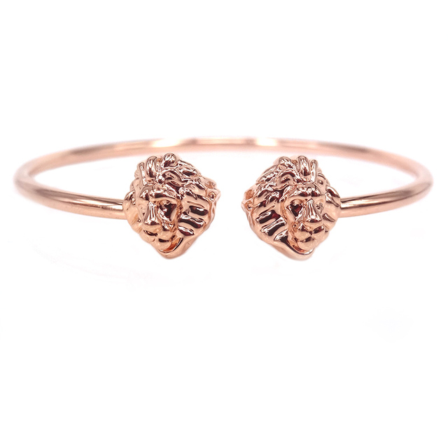 New Lion Head Bangle For Women Rose Gold Color Lion Cuff Bangles