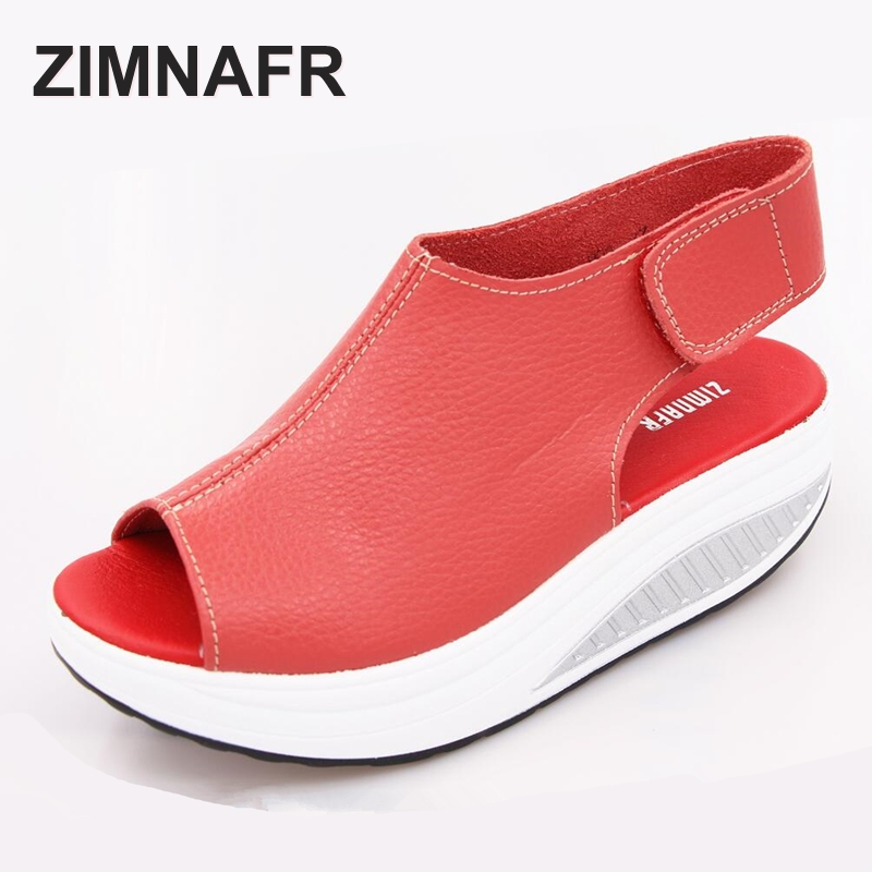 2017 SUMMER ZIMNAFR WOMEN SANDALS SHAKING SHOES GENUINE LEATHER THICK CELCRO SLOPE FISH HEAD WOMEN SANDALS SHOES