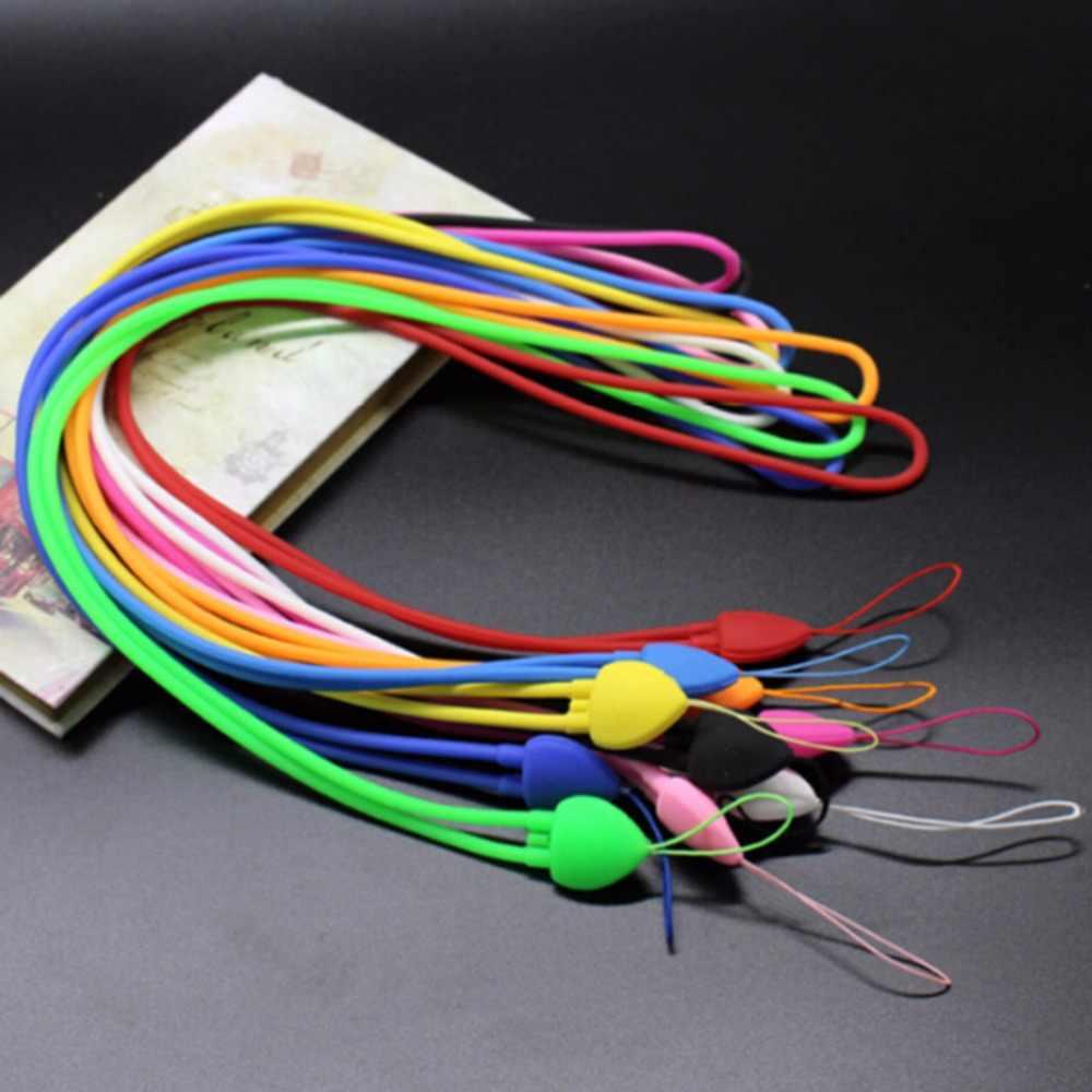 Nuevo estilo corazón silicona móvil para bolso accesorios Correa teléfono celular llave USB insignia cuerdas Correa Lariat cordón Color al azar 1 PC