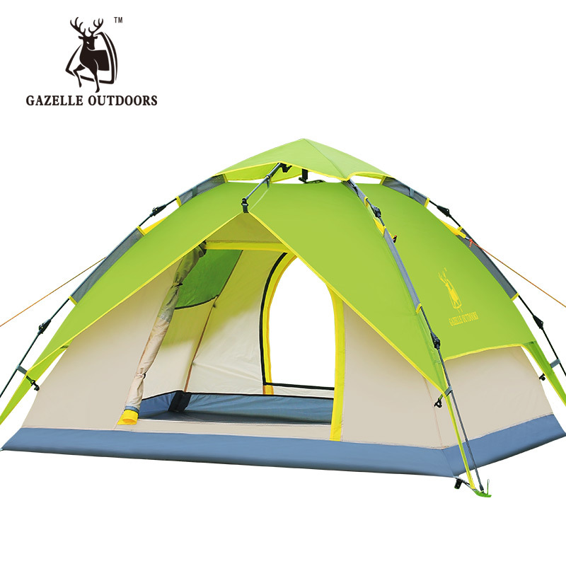 GAZELLE 3-4 Person Tents Hydraulic Automatic Waterproof Double Layer Tent Outdoor Hiking Camping Tent high quality outdoor 2 person camping tent double layer aluminum rod ultralight tent with snow skirt oneroad windsnow 2 plus
